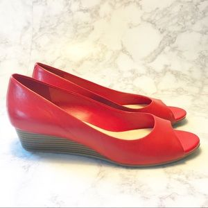 Cole Haan Red Leather Peep Toe Wedge Heel Shoes